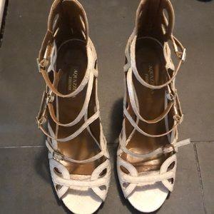 Aquazzura White Python Sandal - Size 7 1/2